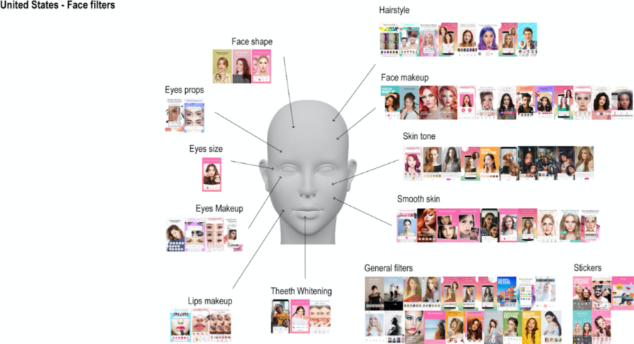 Figure 2: All categories concerning face modifications originated from applications offered within the Google Play Store of the United States.