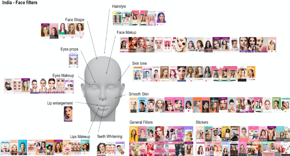 Figure 3: All categories concerning face modifications originated from applications offered within the Google Play Store of India.